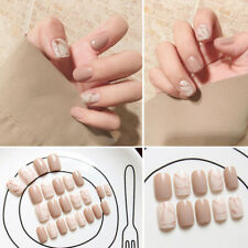 Khaki Smudge Drill Fake Nails Square Head Short Paragraph Manicure Accessories r