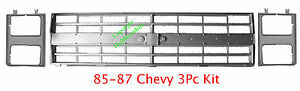 85 87 Chevy 3PC Grill & Head Light Door Kit, Truck Silverado Suburban, 86,88