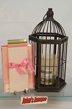BROWN METAL CAGE HALLMARK NEW W/LED CANDLE/TABLET/GREETING CARD~FREE SHIP US~
