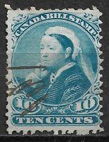 """CANADA: 1868 approx. QV, 10c BLUE """"BILL STAMP"""" REVENUE/FISCAL - PEN CANCEL - FU"""