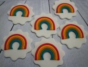 Rainbow cupcake topper set of 6 handmade fondant / sugarpaste