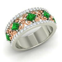 1.40 Ct Natural Diamond Green Emerald Band 14K Solid White Gold Rings Size 6 7 8