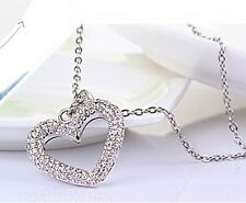 BIG HEART CUBIC ZIRCONIA PENDANT NECKLACE RHODIUM PLATED 18 IN CHAIN NECKLACE