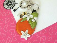 Brighton Orange Bee Flower Leather Key Fob Purse Fob Keyring New tags $50