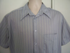 Kennington Gray Ribbed Button up Rockabilly Polyester Vintage Shirt men's Large