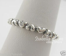 FOREVER LOVE Genuine PANDORA Silver HEARTS Stackable BAND Ring 4.5/48 NEW