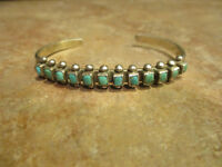 Extra Fine Old Pawn Zuni Sterling Silver Square Turquoise ROW Bracelet