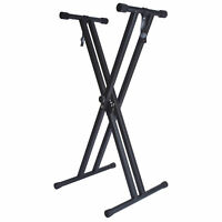 LIVIVO FOLDING ADJUSTABLE DOUBLE X FRAME KEYBOARD STAND WITH STRAPS MUSIC BLACK