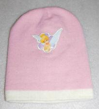 Disney Fairies Tinkerbell Winter Cap Pink White Girls Beanie Snow One Size