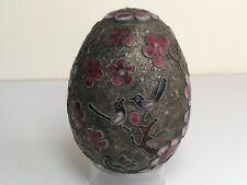 Vintage Chinese Cloisonné Egg Pink Flowers Blossom Birds Motifs