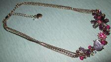 Betsey Johnson Purple and Raspberry Rhinestone Flower Choker Necklace