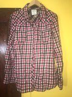 OLD NAVY Western Pearl Snap Red Plaid ROCKABILLY Causal DRESS SHIRT sz XL C4