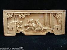 Jolie ancienne sculpture bois sculpté, enfants jouant, Chine, Chinois