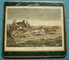 Ca 1950'sTrivet English Stagecoach WAKING UP Litho 4 Horses Coaster Pressed Cork
