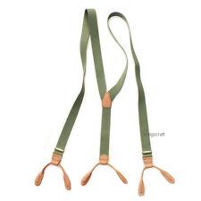 Vintage 50s Style Button On Braces Suspenders/ Olive & Tan