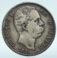 1881 ITALY with King Umberto I Antique VINTAGE Silver 2 Lire Italian Coin i89638