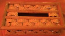 vtg TISSUE BOX COVER natural woven wicker Bamboo basket weave natural Rectangle