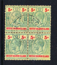 BRITISH SOLOMON IS.1914-23 5/- GREEN & RED IN BLOCK SG 36 FINE USED.