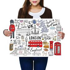 A2 | London Attractions Drawing Bus - Size A2 Poster Print Photo Art Gift #14485