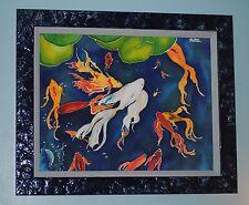 Koi Fish pond Silk Painting Vicky Luffman Framed Blue DeGeorge custom frame