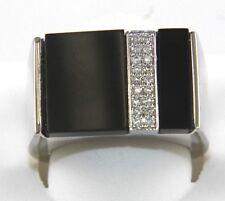 Fine Round Diamond 2 Row Square Rectangle Onyx Men's Ring 14k White Gold .16Ct