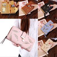 Ladies PU Leather Wallet Hollow Leaves Long Card Holder Handbag Bag Clutch Purse