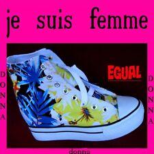 scarpe donna sneakers sportive zeppa interna 6 cm ginnastica tela platform