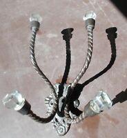 PORTE MANTEAU MURAL - verre et métal,4 patères