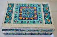 Vintage India Hindu Silver Tin Jewelry Box Colorful Floral Flowers Design Emboss