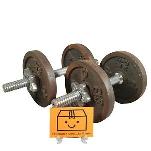 """Vintage Weider 14"""" Chrome Dumbbell Bars Lock Nuts & 4 x 2.3KG Cast Iron Weights"""