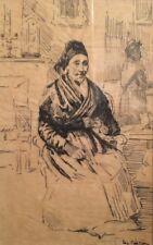 """Eugène Cartier """" Arlésienne assise """" -Dessin à l'encre sur papier calque  - v383"""