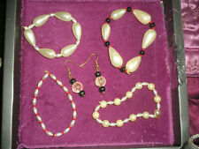 COSTUME JEWELLERY BRACELETS X 4 EARRINGS X 1 BEADS/PEAR TYPE  JOB LOT
