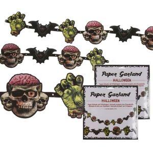 (1,78€/m) 2x Papier-Girlande Papiergirlande Halloween m. 10 Papieranhängern 2,1m