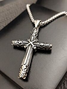 Mens Silver Steel Medieval Cross Necklace Viking Nordic Necklace CHRISTMAS GIFT