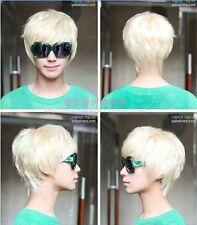 New Fashion Short Platinum Blonde Man Cosplay Wig  H89