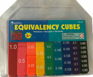 LEARNING RESOURCES FRACTION TOWER  EQUIVALENCY CUBES B6