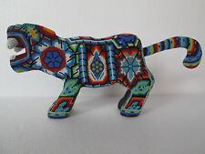 HUICHOL JAGUAR tiger panther beaded art ethnic mexican handmade folk art