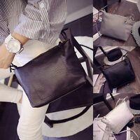 New Womens Ladies Solid Leather Purse Handbag Cross Body Shoulder Strap Tote Bag