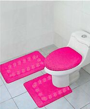 3PC hot pink #5 Embroidered Bathroom Ant-Slip Bath Mat Toilet Lid Cover Set