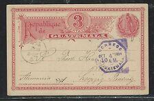 GUATEMALA  (PP2706B) 1893 3C BIRD PSC TO KEMPEN,  POSEN