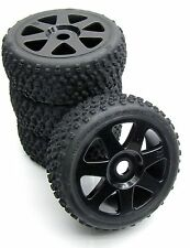 VORZA HP WHEELS & Tires (17mm factory preglued set of 4 Black V7 rims HPI 101850