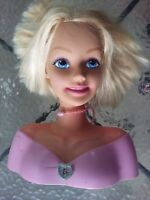 "2001 Mattel Barbie Doll Talking Make Me Pretty Hair Styling Head 12"" Blonde"