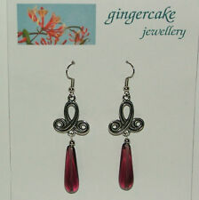 LONG CELTIC SWIRL DARK SILVER PLATED PURPLE GLASS TEARDROP EARRINGS hook