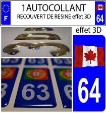 1 sticker plaque immatriculation auto DOMING 3D RESINE DRAPEAU CANADA FLOTANT 64