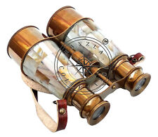 "Vintage Nautical Binocular Brass Antique Style 6"" Mother of Pearl Bound Spyglass"