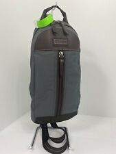 Coach Backpack Sling Bag Varick Gray Brown Nylon Leather  F70692 B2Y