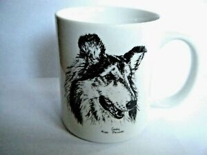 Rosalinde Hand Painted Collie Dog Coffee Mug Cup 1985 Signed Made In USA