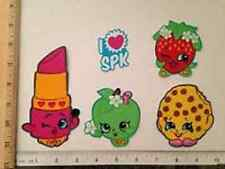 5 Lg Shopkins Characters Fabric Applique Iron On Ons Apple Kookie Kiss Lippy