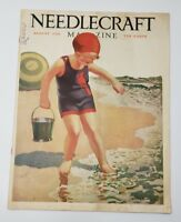NEEDLECRAFT MAGAZINE AUGUST 1928 GIRL BEACH SAND BUCKET COVER & Campbell's SOUP