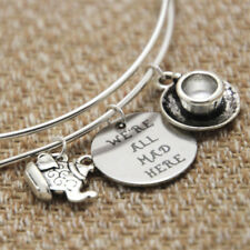 WE'RE ALL MAD HERE CHARMS BANGLE BRACELET SILVER ALICE IN WONDERLAND TEA PARTY
